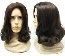 Mens Brown #6 Long Hair Wig Hippie Grunge Jesus Synthetic Costume 14""