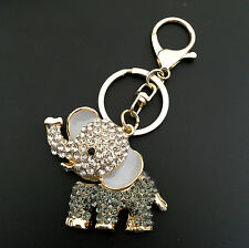 Cute Elephant Crystal Rhinestone Pendent Car Bag Purse Keychain Key Ring