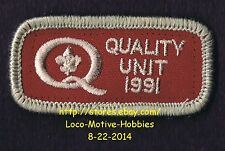 LMH PATCH Badge  1991 QUALITY UNIT Award  BSA BOY SCOUTS  National Pack Program