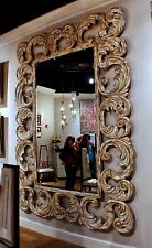 "118"" Tall Wall massive oversize mirror solid hardwood hand carved frame GM"