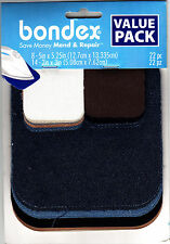 BONDEX 22 PIECE VALUE PACK IRON ON MENDING PATCHES-Clothing, Repair, Mend,No Sew
