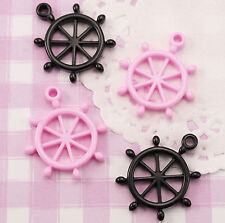 6 X Lindo Rosa y Negro Marino Barco's rueda Kawaii Resina Cabujones Deco Crafts