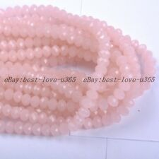 100Pcs Pink Opal Czech Crystal Faceted Rondelle Spacer Beads 4MM