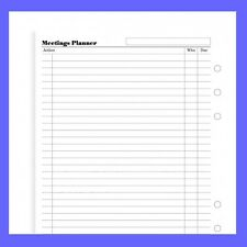 Filofax A5 Meetings Planner White 341315 Refill Insert Paper