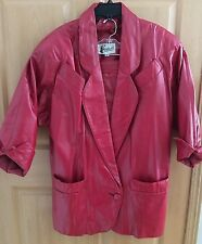 VINTAGE 2PC WOMAN'S BERMANS RED LEATHER JACKET & SKIRT SUIT W/GLOVES WOMAN'S MED