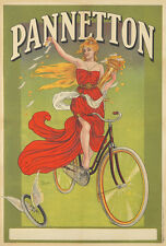 Original Vintage Poster Pannetton Bicycle Biliotti French Bike ca. 1899