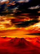 OIL PAINTING MOUNTAIN TOPS DYNAMIC SKY RED PHOTO ART PRINT POSTER BMP1041A