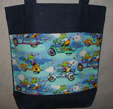 NEW Handmade Large Whimsical Motor Scooter Frog Frogs Denim Shopping Tote Bag