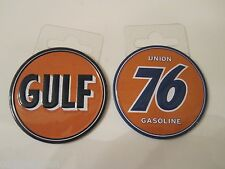 "(2) GULF & UNION 76 Gas & Oil Garage Metal 2 3/16"" Toolbox Mancave Magnets"