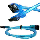 """24"""" SATA 3 III 6 Gb/s SSD HDD Data Round Cable UV Blue Straight to Right Angle"""