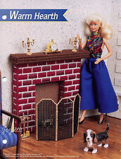 Warm Hearth ~ Fireplace & Screen, Annie's plastic canvas patterns fit Barbie