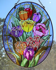 """AMIA Stained-Glass Look Large """"Tulip Flowers"""" Suncatcher- Hand Painted"""