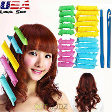 18Pcs Hairdress Magic Bendy Hair Styling Roller Curler Spiral Curls DIY Tool New