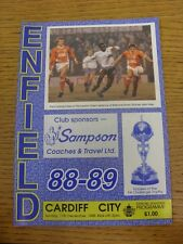 11/12/1988 Enfield V Cardiff City [FA Cup] (cambios de equipo). este artículo es Cabello