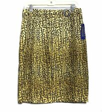 Pendleton - 10 (M) - NWT $148 - Mustard & Brown Animal Print Washable Silk Skirt