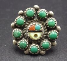 Vintage ZUNI SunFace Sterling Silver TURQUOISE Petit Point Cluster RING size 5.5