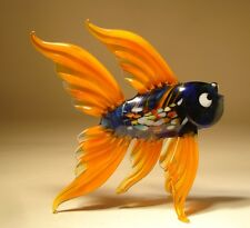 "Blown Glass ""Murano"" Sea Animal Figurine Exotic Orange and Blue FISH"