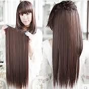 Chocolate Brown long clip on off fake Hair Extension 22 inch Hair Accessories..
