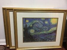 3 very old VAN GOGH THE STARRY NIGHT Matted GOLD FRAMED Glass Painting PRINTs