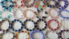 Joblot 30 pcs Crystal & Diamante Mixed Colour Bracelets New Wholesale