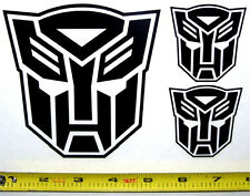 Transformers - Autobot Set of 3 HQ Single Color Black Vinyl Sticker Decal em