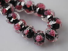 10pcs Black/Pink Rondelle Faceted Glass Crystal Rose Flower Inside Beads 12mm