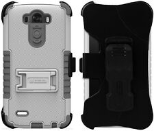 WHITE GRAY TRI-SHIELD KOMBO CASE SKIN COVER BELT CLIP HOLSTER STAND FOR LG G3