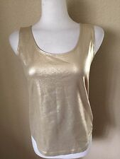 Chico's Scoop Neck Stretch Tank Top Size 1 (M) Gold 92% Nylon/8% Spandex