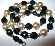 Pretty VINTAGE 1950's Pearl Jet Black Glass BEAD Rhinestone Jewellery NECKLACE