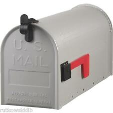 Silver Gray Standard T1 Ribbed Galvanized Steel Post Mount Rural Mailbox