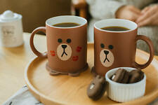 LINE FRIENDS BROWN Bear Character Two-Face Matted Ceramic Coffee Mug Cup 11.16oz