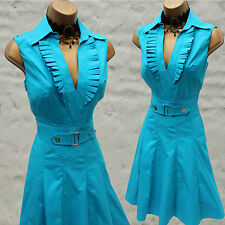 Karen Millen Turquoise Trench 50's Shirt Style Pleat Cocktail Party Dress 8 UK