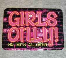 Metal Sign - GIRLS ONLY - No Boys Allowed - teenager girly door locker wall teen