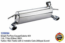 Performance Exhaust Muffler for Smart ForTwo Coupe/Cabrio 451 1.0L 3B21