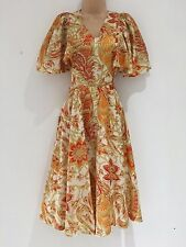 Vintage 70's Cream Red Orange Classical Floral Cape Sleeve Silk Dress Size 8