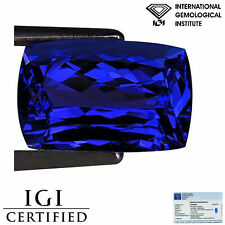 4.33 Ct IGI Certified AAA Natural D Block Tanzanite Blue Violet Cushion Cut
