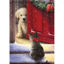 """Welcome Home House Flag  28"""" x 40"""" Double sided Flag by Carson Dog Cat Winter"""