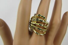 New Women Mini Skull Gold Metal Skeleton Wrap Hand Fashion Ring Elastic One Size