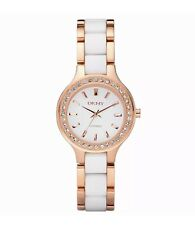 NEW!! DKNY NY8141 White Dial Rose Gold Stainless Steel Ceramic Women's Watch