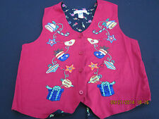 Christie Brooks Girl's Red Christmas Vest - 100% Cotton - Size M (10-12)