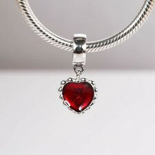 Perfect Gift Genuine Pandora Silver Red Heart Enamel Dangle Charm