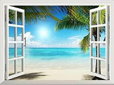 Wall26® - White Sand Beach with Palm Tree Open Window Mural Wall Decal Sticke...