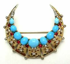 Vintage 1946 TRIFARI PHILIPPE STERLING Faux Turquoise Crescent Moon Brooch