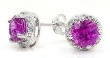 2 Carat Pink Sapphire & Diamond Round Stud Earrings 14Kt White Gold