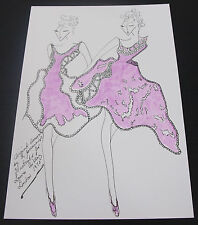 Roz Jennings Fashion Drawing Original Art Work Illustrator Laura Ashley 1970 A13