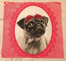Animal Pugs Dog Picture  Hair Bow Fabric / Material Remnant. 12 x 12 inch