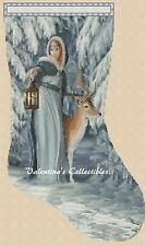 Cross Stitch CHRISTMAS STOCKING-Lady w/Deer Winter Scene- COMPLETE KIT #4-289