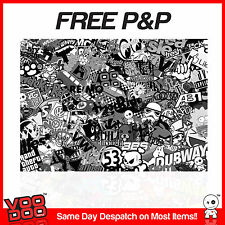 VW STICKER BOMB- CAST VINYL/VEHICLE WRAP -1M X 300MM (VW/EURO/JDM) BLACK & WHITE