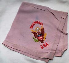 USA WWII Sweetheart Embroidered Great Seal Eagle Purple Silk Handkerchief