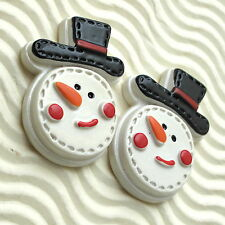 "US SELLER - 10 x (1 3/8"") Resin Smiley Snowman Flatback Beads for Cards SB518"
